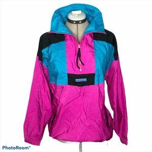 Vintage Columbia pink blue black color block coat